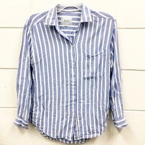 Rails Blue White Striped Long Sleeve Top Pocket